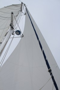 Screecher. Light wind sail for up wind work flown from bowsprit